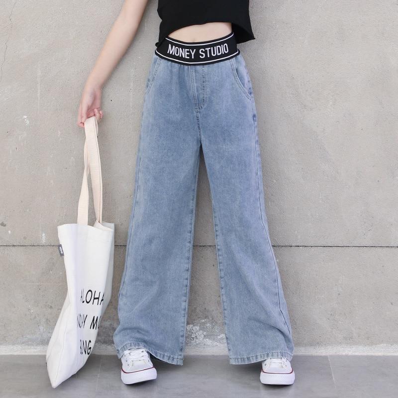 Джинсы для девочек подростков коллекция 2021 года, весенне Летние повседневные Модные свободные синие широкие штаны для детей школьные детские штаны для детей возрастом 6, 8, 10, 12 лет Джинсы    АлиЭкспресс