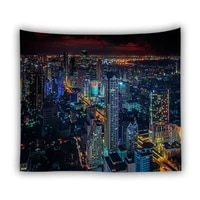 yaapeet 1pc city printed wall hanging pretty brief home decor polyester night view wall tapestry forest printed hanging tapestry