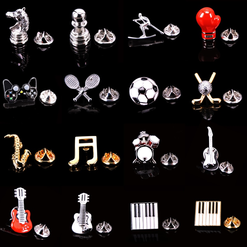 Fashion Brooch Football golf Drum pistol Saxophone chess Gold Silvery brooches Lapel Pin For Men acc