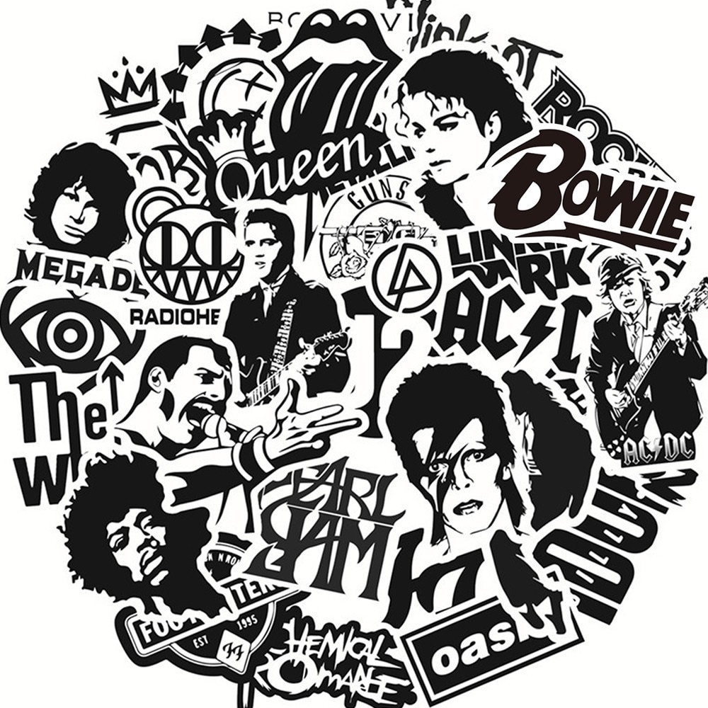 50 Uds pegatina de Rock música Retro banda Graffiti pegatinas JDM guitarra bricolaje de la motocicleta portátil equipaje monopatín adhesivo de Snowboard