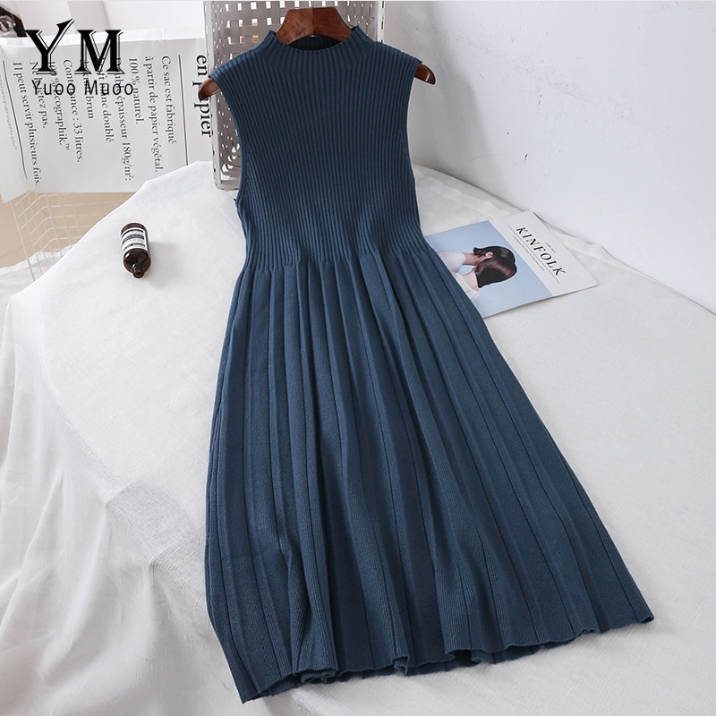 Yuoomuoo elegante vestido de malha plissado midi 2020 outono básico sem mangas uma linha vestido de camisola do vintage vestido de escritório de tanque romântico
