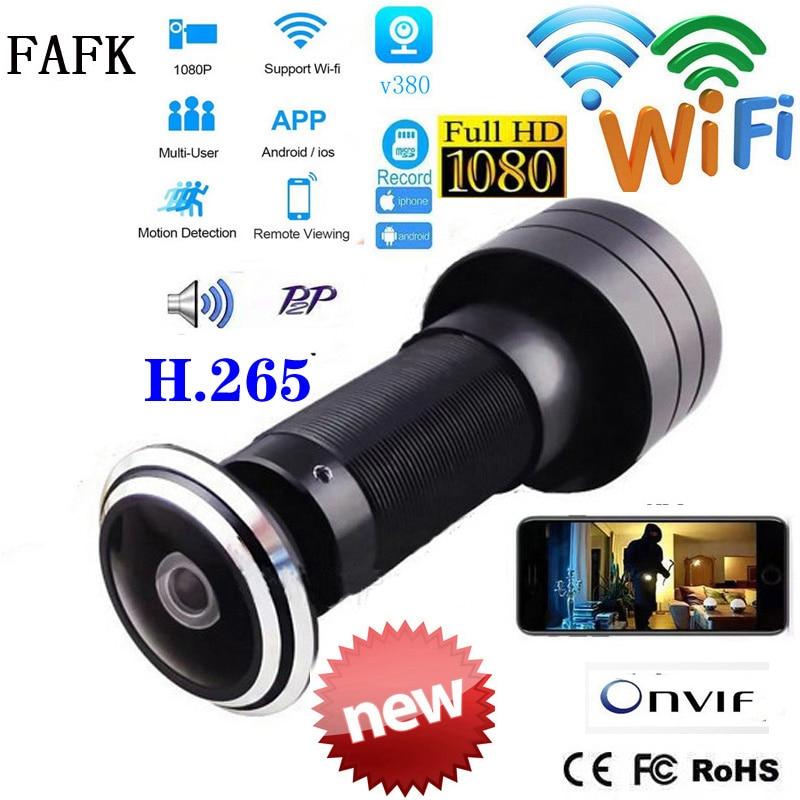V380 باب ثقب العين الأمن 1080P HD 1.7 مللي متر عدسة زاوية واسعة للعين السحرية CCTV شبكة ثقب الباب واي فاي كاميرا P2P ONVIF