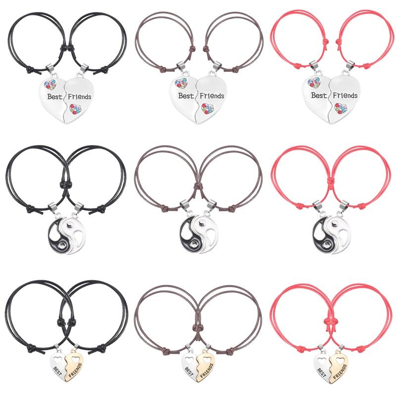 Браслет для девочки из двух частей с сердечком и подвеской в форме сплетни, кожаный браслет, модные ювелирные изделия, прямые продажи