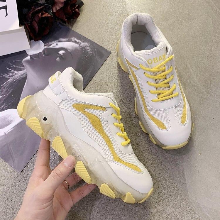 حذاء رياضي سوبر فاير للنساء ، حذاء رياضي كاجوال بنعل شفاف