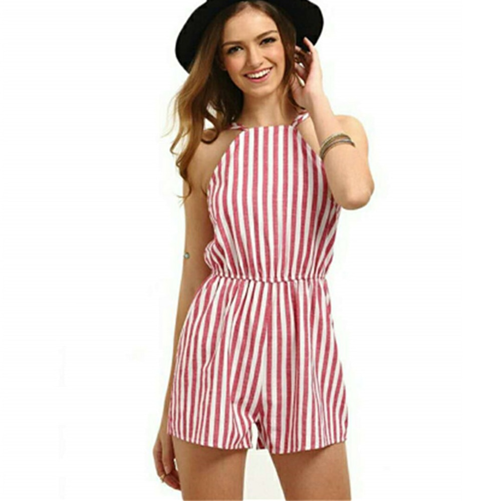 Women Playsuit Beach Off Shoulder Overalls Female Summer Casual Halter Backless Pink Blue Stripes Chiffon Sexy Bohemian Jumpsuit women sexy v neck jumpsuit casual wide leg stripe overalls off shoulder backless playsuit
