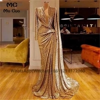 elegant 2021 one shoulder prom evening dresses long ruched pleat high slit beaded hard satin womens evening gown custom made