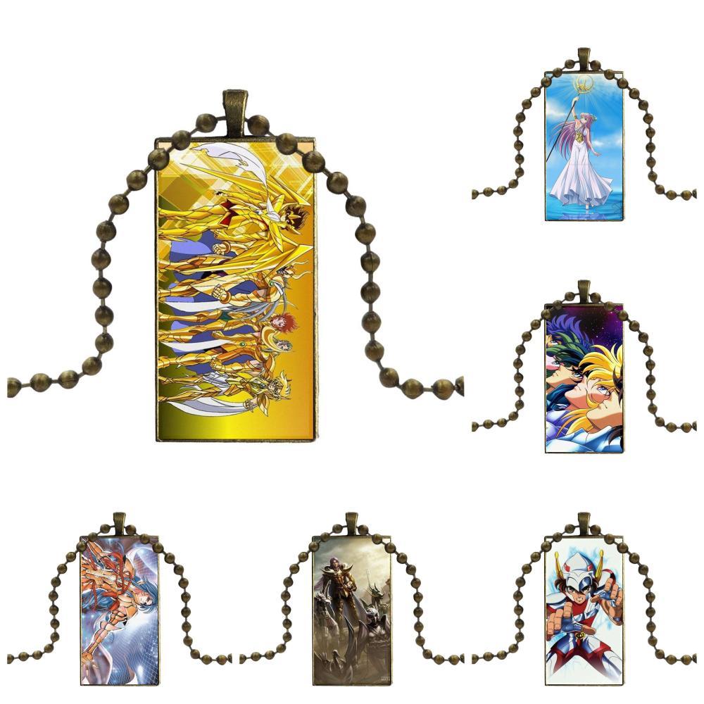 Aries Mu Sagitario Saint Seiya para mujeres niñas joyería cabujón de cristal Color bronce con gargantilla con colgante collar largo con dije de rectángulo