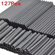 127 шт Черный всепогодный Термоусадочные трубки Ассортимент Комплект электрическое соединение Электрический провод обёрточная бумага кабель