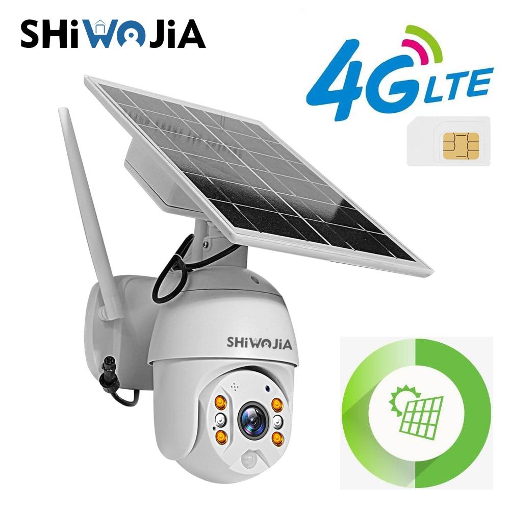 لوحة كاميرا 4G/wi-fi من SHIWOJIA عالية الوضوح 2MP شاشة تعمل بالطاقة الشمسية للأمن في الهواء الطلق منزل ذكي مزرعة مزرعة الغابات إنذار طويل الاستعداد LED