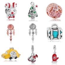Christmas Gift Silver snowflake gloves tree Dreamcatcher clown Diy Bead Pendants Charm fit Original Pandora Charms Bracelet