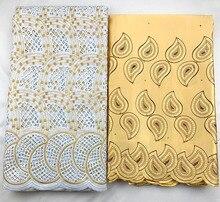Tissu en dentelle suisse et dentelle George   Tissu en coton africain 2020, à la mode, tissu de poinçonnage suisse, dentelle George 2.5 + 2.5 yard