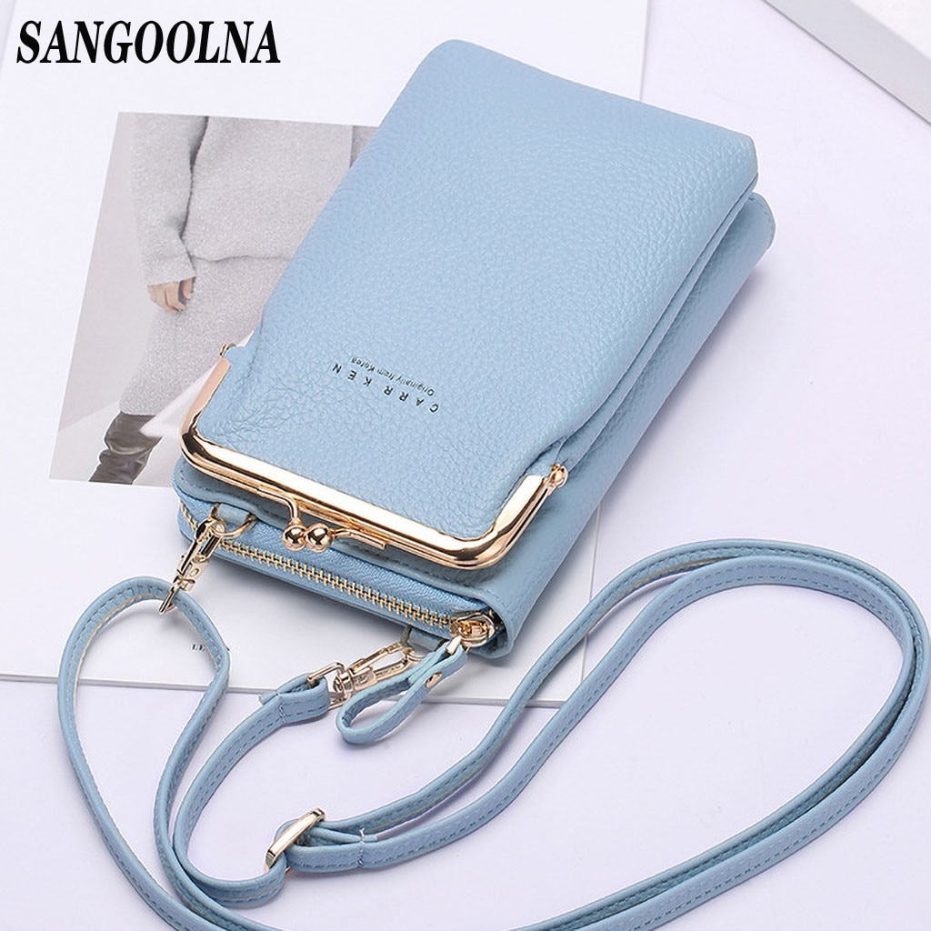 Marque bandoulière sacs écran tactile téléphone portable sac à main sac Smartphone portefeuille en métal en cuir bandoulière sac à main femmes sac