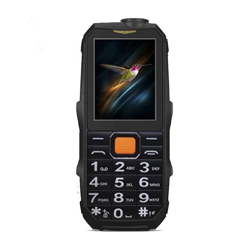 Mini teléfono móvil con doble SIM pequeño barato de 2,4 pulgadas antorcha fuerte a prueba de golpes Bluetooth soporte teclado ruso MP3 MP4 banco de energía