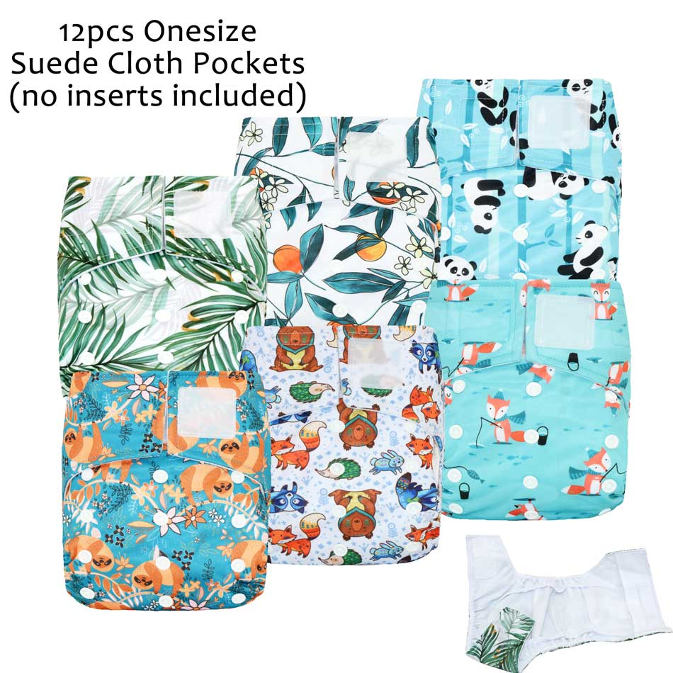 (12pcs/Lot) ICLOTHUP OS Pocket Cloth Diaper,With Stay-Dry Suede Cloth Inner,Waterproof And Breathable Fits Babies 3-15kgs