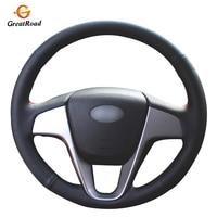 Black Genuine leather Car Steering Wheel Cover for Hyundai Solaris (RU) 2010-2016 Verna 2010-2016 i20 2009-2015 Accent