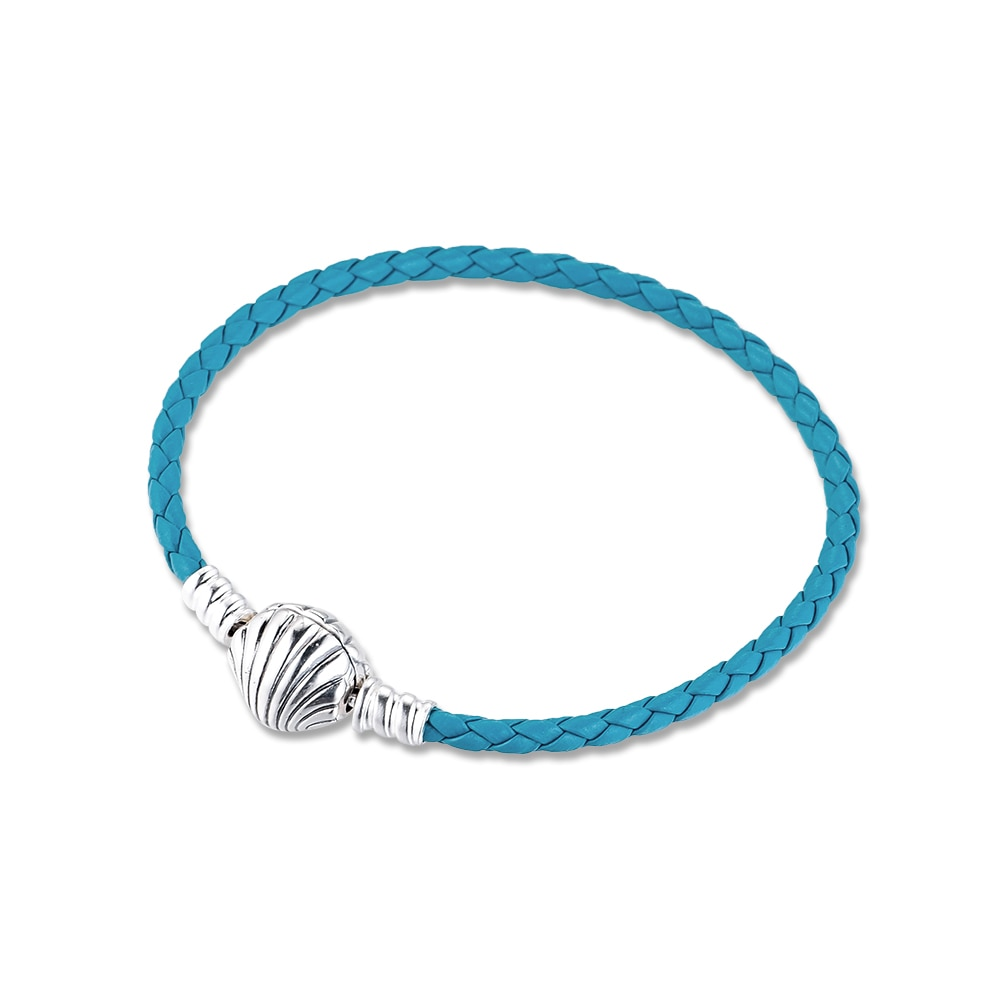 Pulsera trenzada de cuero turquesa con cierre de concha de mar Moments, pulseras de plata de ley, joyería para mujer DIY, fabricación de joyería de moda