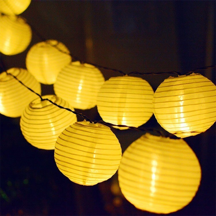 Linterna Solar Binval lámpara festiva de jardín bola Cadena de hadas 10/20/30LED Patio fiesta boda Solar globo guirnalda de luz