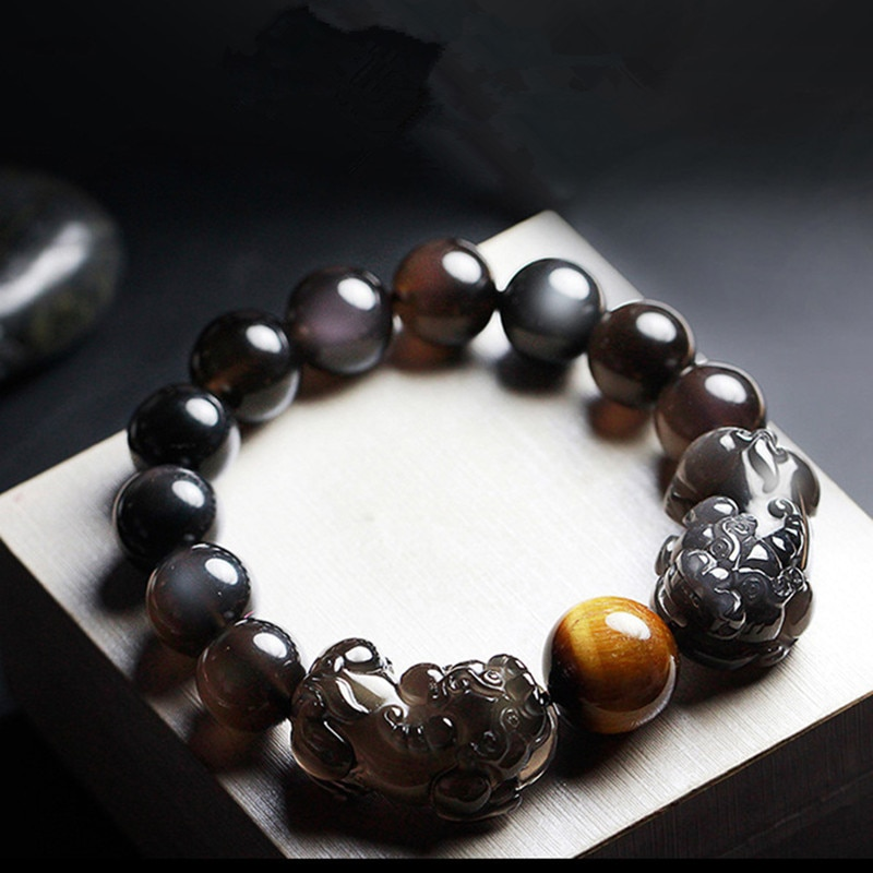 Natural Ice Rainbow Eye Obsidian Pixiu Bracelet Buddhist Prayer Brave Troop Tiger Eye Stone Beaded Bracelets DIY Dropship Jewelr
