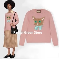 luxury designer women 2021 new branded fashion pink knitted wool 3d embroidery kitty logoed letter fall sweaters for women s l