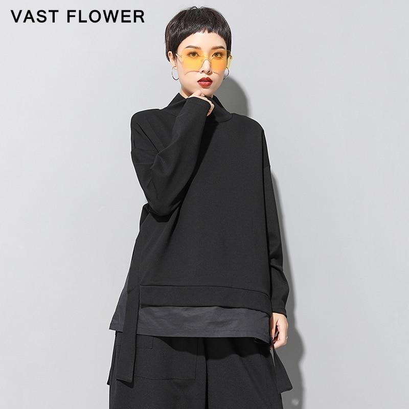 Plus size retalhos falso 2 peças tshirt feminino split gola alta manga longa pulôver tops roupas de moda primavera outono 2020