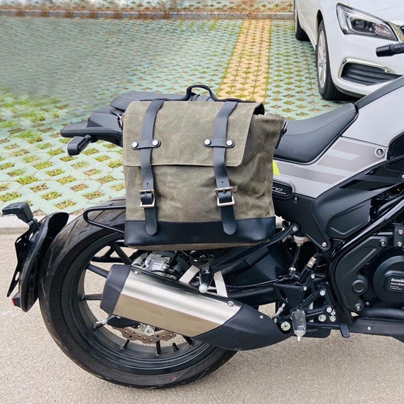 الشمع قماش دراجة نارية حقيبة Vintage حقيبة جانبية للرجال حقيبة كروسبودي صندوق حقيبة ساع حقيبة سفر الأمتعة للدراجات النارية