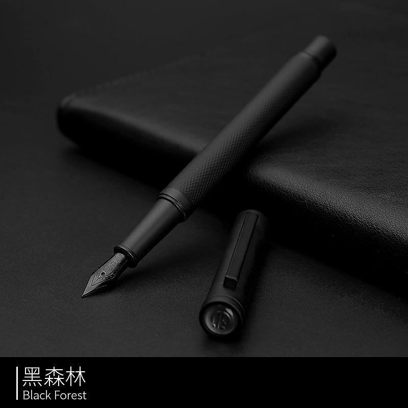 Fountain Pen HongDian ink Full Metal Clip Pens Stainless Steel Black White Classic Fountain-Pen Nib 0.5mm School Office Supplies