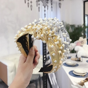 Heavy Metal Punk Pu Leather Headband Nail Pearl Twist Knot Broad-brimmed Hair Band Female Knotted Hair Hole