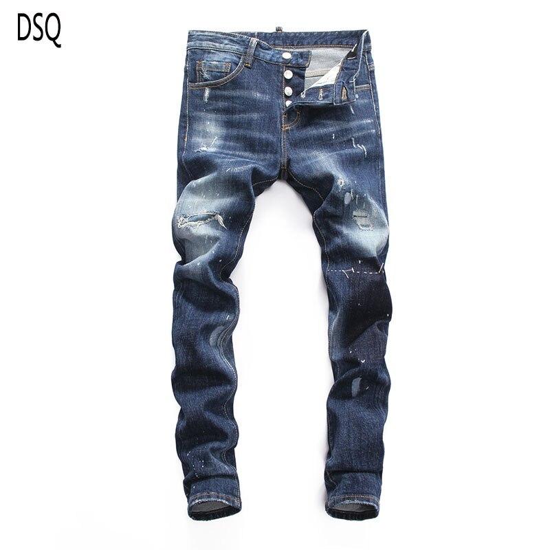 Europeu americano dos homens dsq marca calças de brim magros dos homens denim calças botão azul buraco lápis calças jeans para homens 8025
