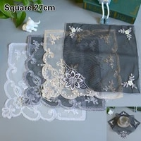 european lace fabric embroidered beaded black placemat coaster fruit snack cake dust cover small furniture vase mat decoration
