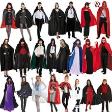 Adult Vampire Costume Capes Hooded Robes Black Red Deluxe Halloween Cloak Full Length