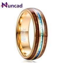 Nuncad Hawaiian Koa Wood Ring 6MM Engagement Men Gift Electroplated Gold Inlaid Acacia Imitation Opal Dome Tungsten Carbide Ring