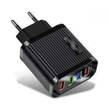 Chargeur de téléphone rapide 3.0 pour iPhone 11 Pro XR 18W QC 3.0 chargeur rapide 4 Ports USB chargeur de voyage mural adaptateur pour Samsung