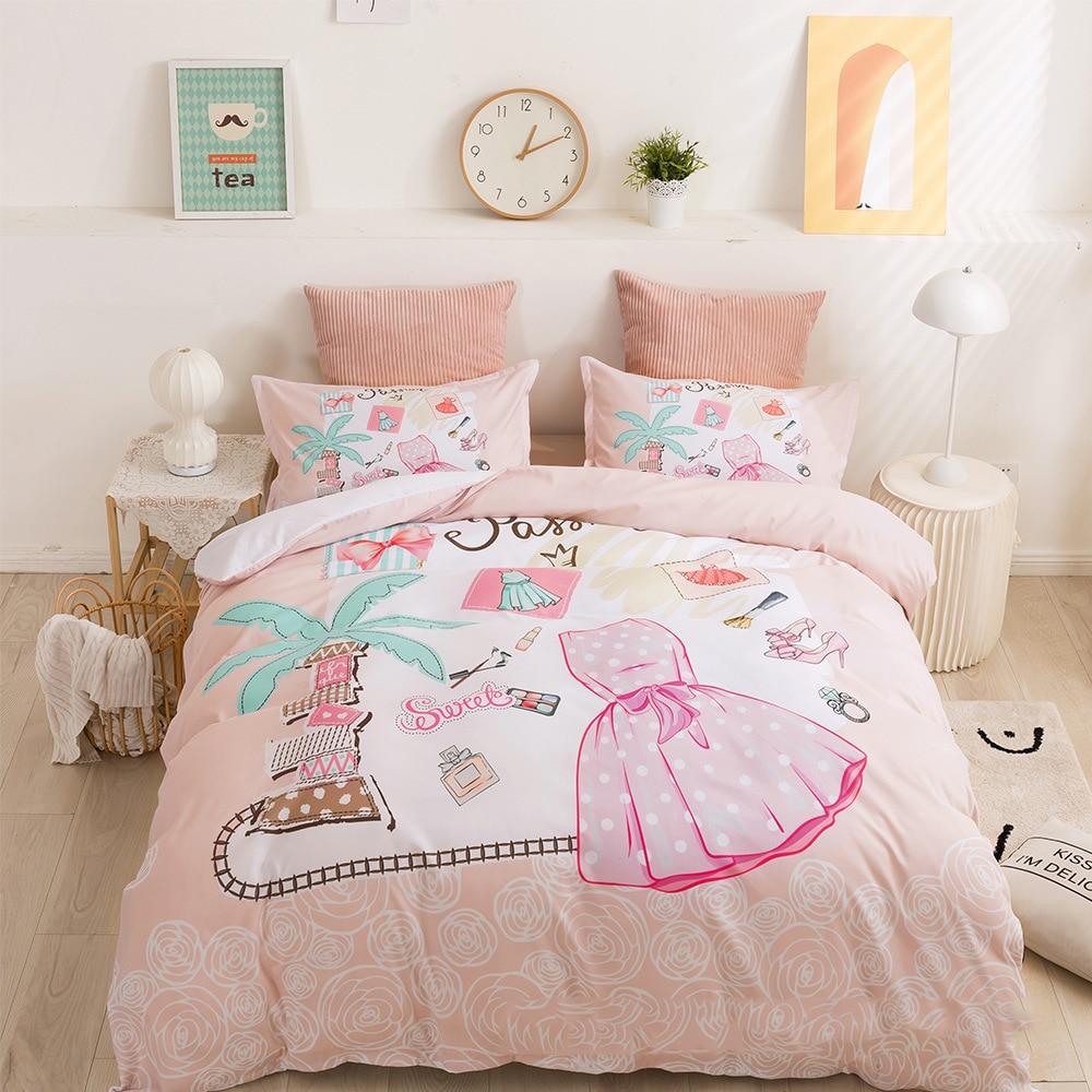 الحديثة الفتيات غطاء لحاف مجموعة الأزياء موضوع مع وتتسابق اللباس ووتش محفظة العطور الزخرفية 3 قطعة الفراش مجموعة الوردي الملكة حجم
