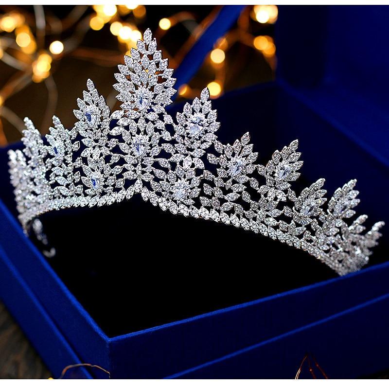 Tiaras De circonita De Novia corona De princesa joyería nupcial accesorios para...