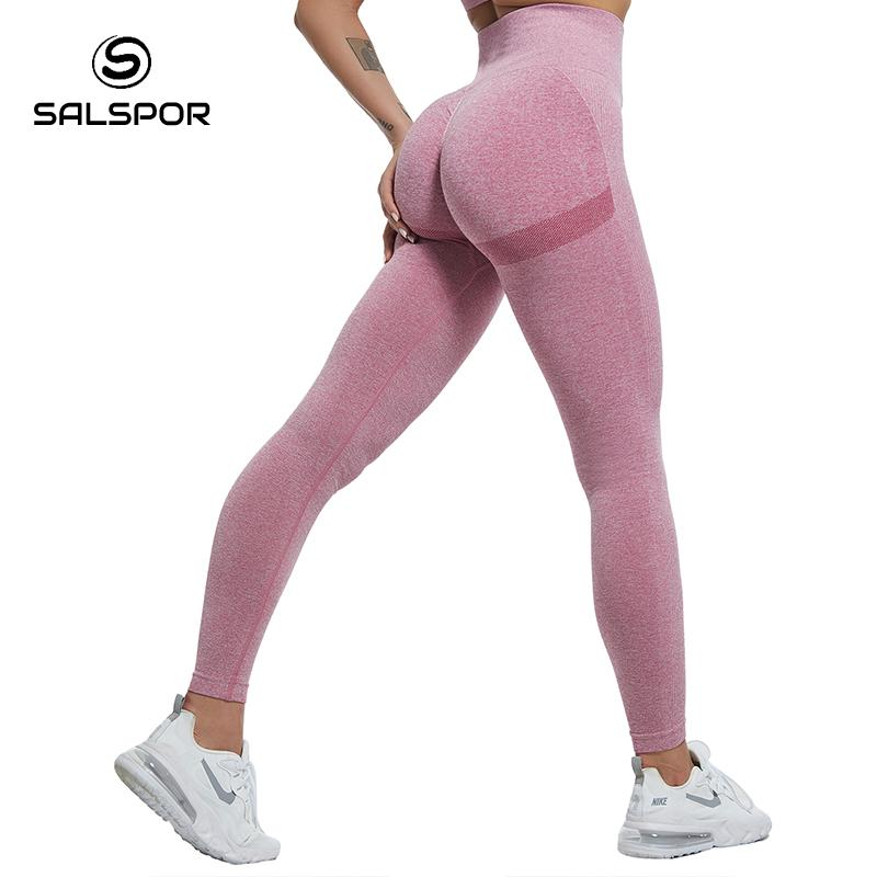 SALSPOR Women High Waist Fitness Leggins Ladies Seamless Legging Sexy Bubble Butt Gym Leggings Push Up Pants Feamle Tights