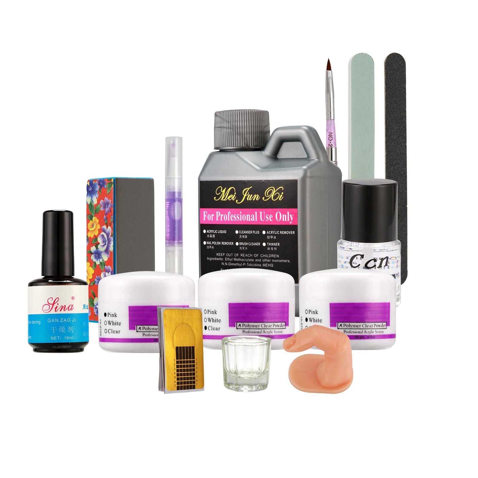 Anmas Rucci Acrylic Powder Liquid Block UV Gel Sanding File Pen Glass Nail Art Set Kit