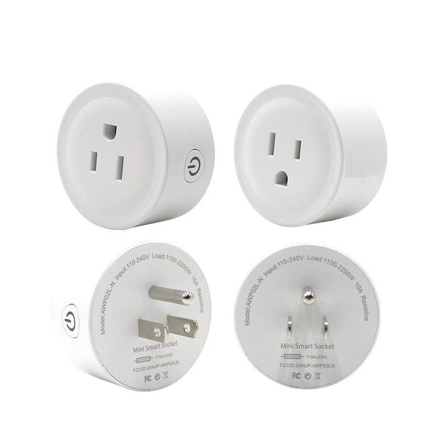 50 Uds Control remoto hogar mini Smart Socket WiFi inalámbrico temporizador enchufe de EE. UU. Para Google Home App Control Amazon Alexa