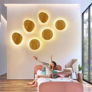 Creative Round/Oval Solid Wood LED Wall Lamp Surface Mounted Warm White 8W/12W Wall Light For Stairs Aisle Hotel Beside Decor