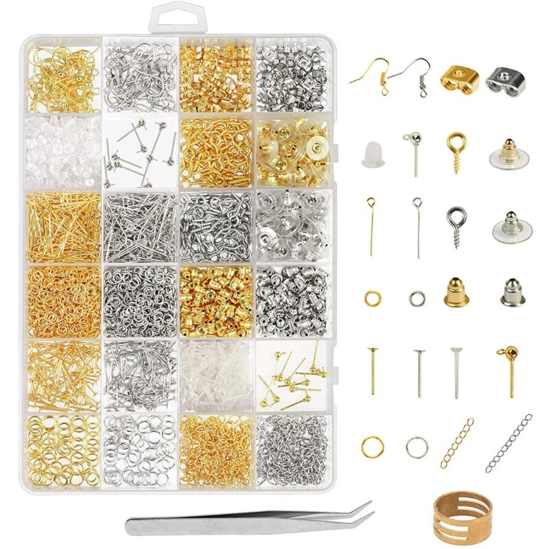Earring Making Supplies Kit 2418pcs Earring Repair Parts Earring Hooks Backs Jump Rings Earrings Studs Jewelry Making