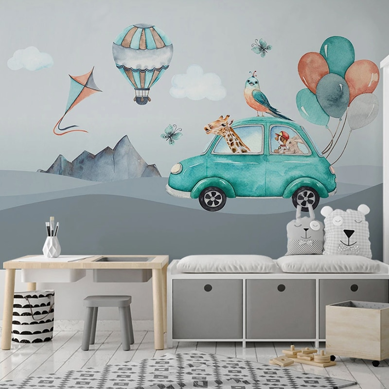 Custom 3D Mural Wallpaper For Cartoon Hand Painted Balloon Car Giraffe Kids Room Baby Room Bedroom Background Photo Wall Paper
