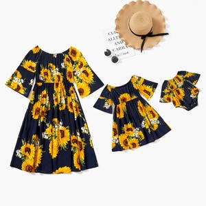 PatPat 2021 New Arrival Sunflowers Print 100% Cotton Matching Half Sleeve Dresses