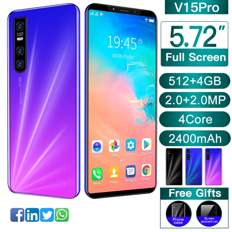 Global Version Smartphone V15 Pro 5.72 Inch Full Screen Android 4.4 512MB RAM+4GB Unlock Mobilephone Celulares Cellphone
