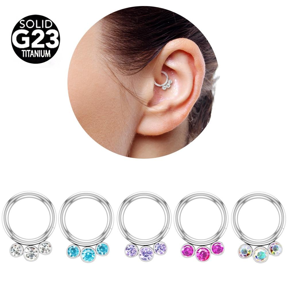 100% de tabique nasal anillo pezón Piercing Daith 16G 3 CZ gema Hélix cartílago de Oreja Stud Piercing de joyas para labio Oreja
