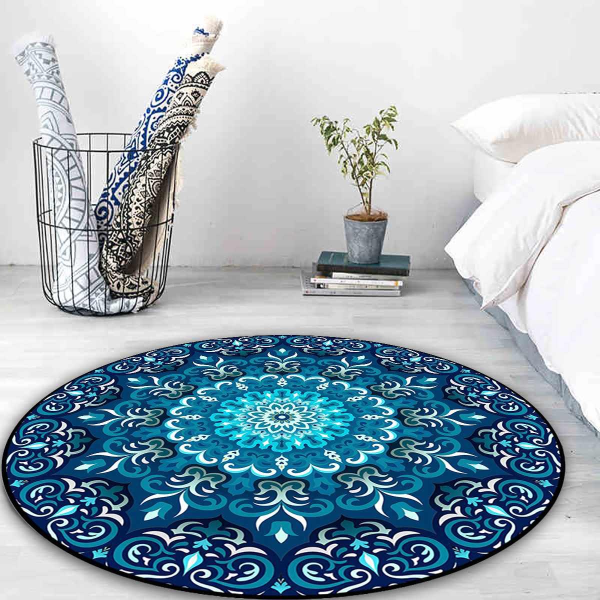 Mandala indiano redondo tapete quarto estilo boho algodão mão tecido nacional clássico tapeçaria sofá almofada tatami tapetes