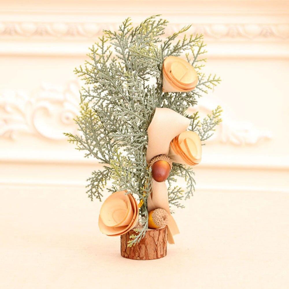 Árbol de Navidad Artificial con bayas rojas, pino, cono, flor de simulación, Mini bonsái, decoración para el hogar y la Oficina, paisajismo