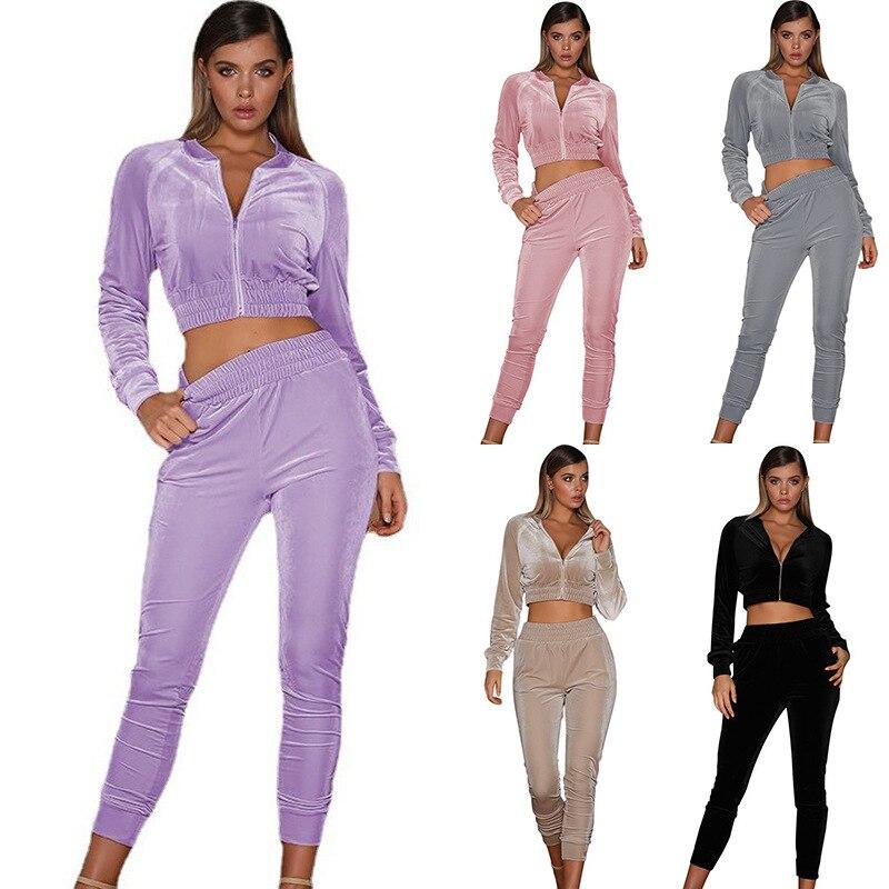 Комплект из двух предметов, женский спортивный костюм, велюровый Женский бархатный комплект, женский спортивный костюм, зимний топ и штаны, ...