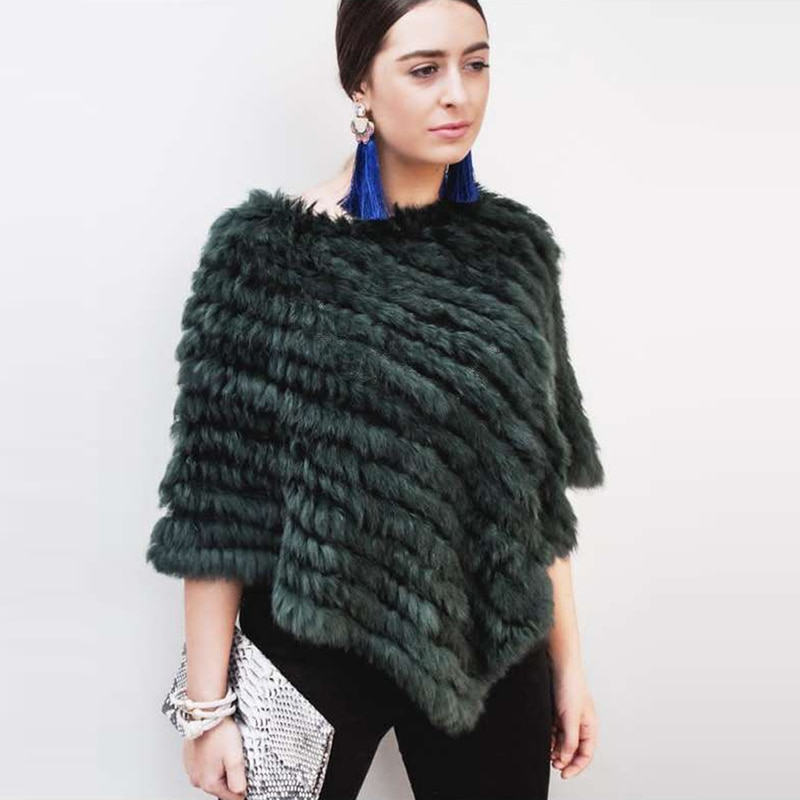 ETHEL ANDERSON-معطف فرو أرنب محبوك للنساء ، سترة ملونة ، شال ، للزفاف ، بالجملة ، 100%