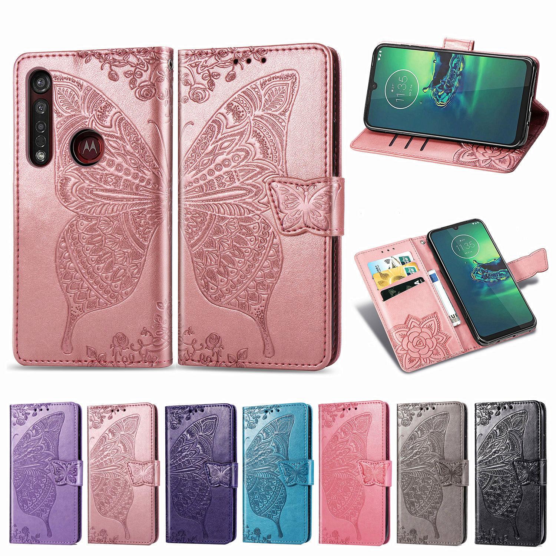 Preciosa funda tipo billetera con mariposa para Motorola Moto G8 Power Plus Play One Macro Action Vison Zoom G7 E6 Z4 Play