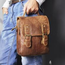 Fashion Real Leather Male Casual Messenger bag Satchel Cowhide Design Crossbody One Shoulder bag Sch