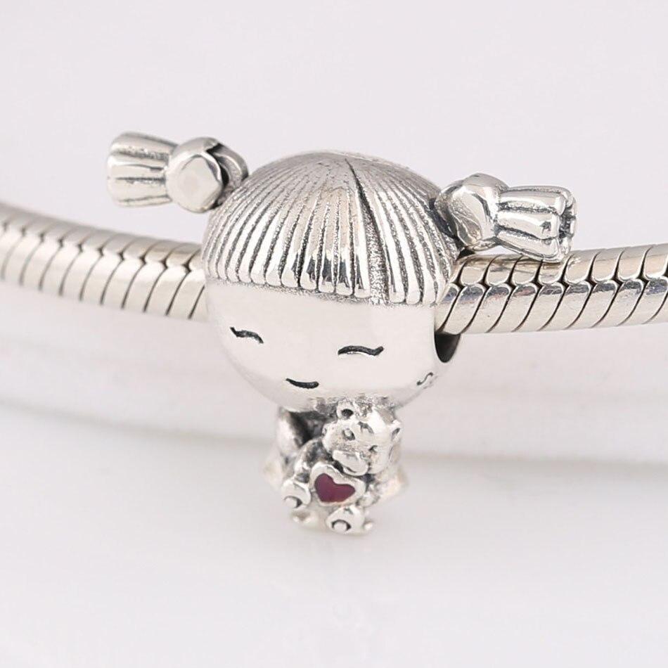 Auténtico S925 plata de ley DIY joyería coletas pequeñas dijes para niña ajuste señora pulsera brazalete